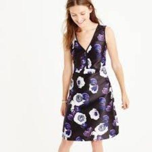 J. Crew V-neck A-Line Dress Violet Poppy Size 14